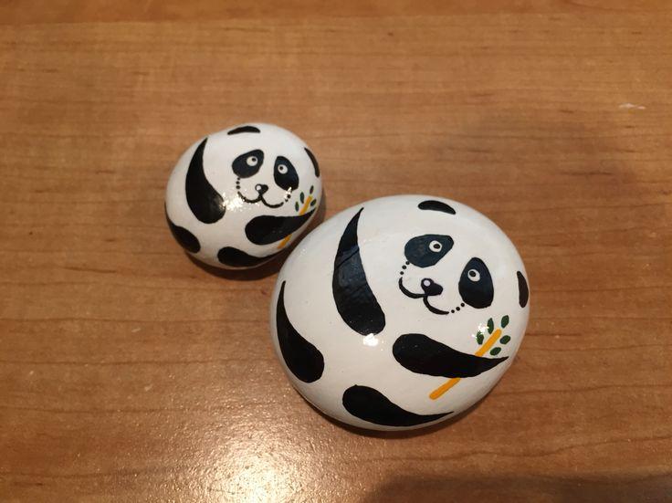 Panda rock painting/ acrylic