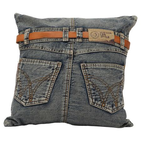 Reclaimed denim pillow with a jeans-inspired design.  Product: PillowConstruction Material: Denim and filling