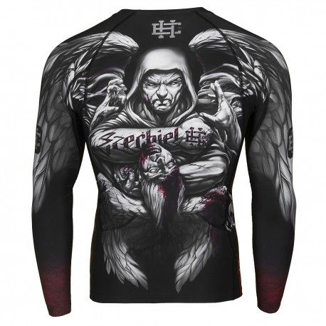 Longsleeve rashguard EZECHIEL. Color: black. Excellent quality rashguard HOBBY EXTREME is ideal for hard training people who appreciate the highest class of products. Made of high quality material, which, thanks to its flexibility, clings to the body. Sophisticated thermoregulation system by which the body is dry and the muscles warmed up. Sublimated logos (will not scratch).