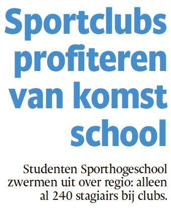 Artikel in het Eindhovens Dagblad 2-5-15 over de student en zijn/haar impact op sport, bewegen en gezondheid in de regio Eindhoven.