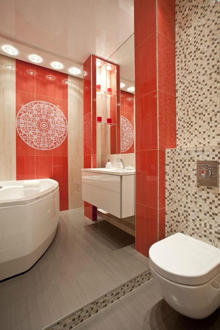 carrelage de couleur corail et une belle mosaque dans la salle de bains - Carrelages Brun 70s Salle De Bains