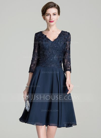 A-Line/Princess V-neck Knee-Length Chiffon Lace Mother of the Bride Dress (008072689) #jjshouse