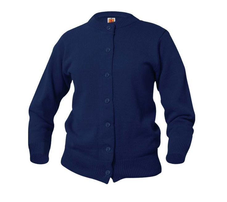 A+ Girls School Uniform Cardigan Sweater. Girls 7 button crew neck cardigan. 100% Lo-pil acrylic. Sizes YXXS(3/4) YXS (5/6) YS (7/8) YM (10/12) YL (14/16) YXL (18/20). No pockets. Rib trim cuff and waist.