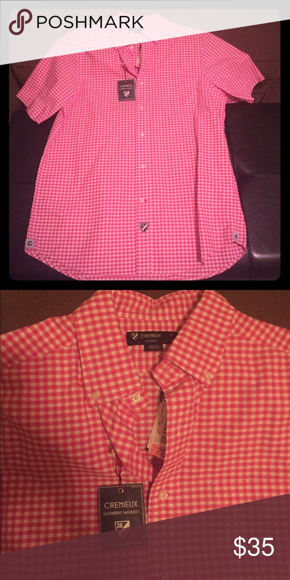 Men's Pink Plaid Shirt Pink and white check Plaid, front pocket Daniel Cremieux Shirts Casual Button Down Shirts