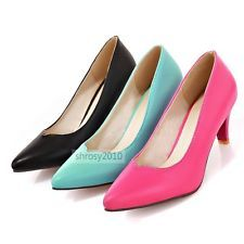 Womens Office Kitten Heels Pumps Classics Court Shoes Pointed Toes