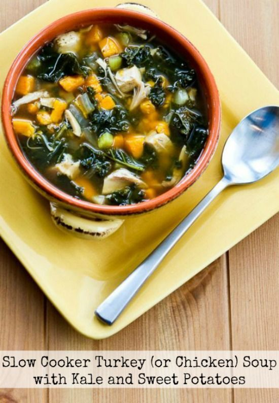 Slow Cooker Turkey (or Chicken) Soup with Kale and Sweet Potatoes from Kalyn's Kitchen featured on Slow cooker or Pressure Cooker at SlowCookerFromScratch.com