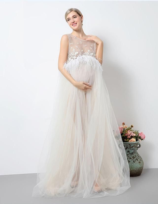 eeaf66eae11c5 Floral White Lace Sleeveless Maternity Gown Dress With Feather Trim Photo  Prop in 2019 | Stylish maternity outfits | Maternity dresses, White  maternity ...