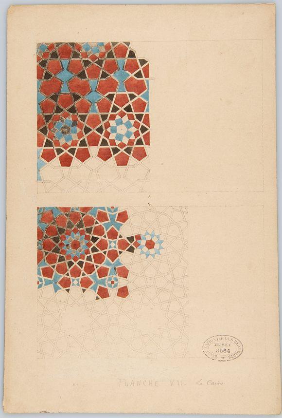 Fig. 9.2. Jules Bourgoin. Planche préparatoire pour Les Éléments de l'art arabe. Pl. VII «Mosaïques», s. d. (v. 1879).