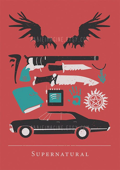 Supernatural poster Minimalist Print Geekery by AbbieImagine
