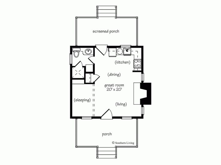 Home Plans 412 Square Feet 1 Bedroom Bathroom Cottage Guest House