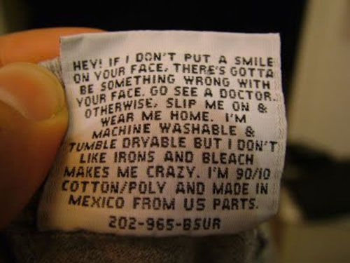 I wish I had found this on one of my clothing tags