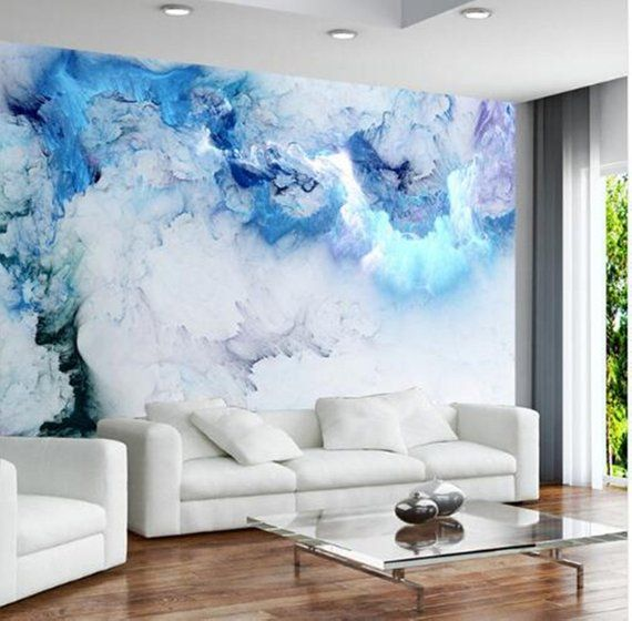Custom Any Size Mural Blue Cloud Wallpaper Living Room Background Wall Decoration Waterproof Photo Papel De Parede