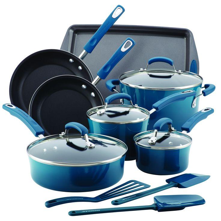 Rachael Ray Hard Enamel Nonstick 14-Piece Cookware Set, Marine