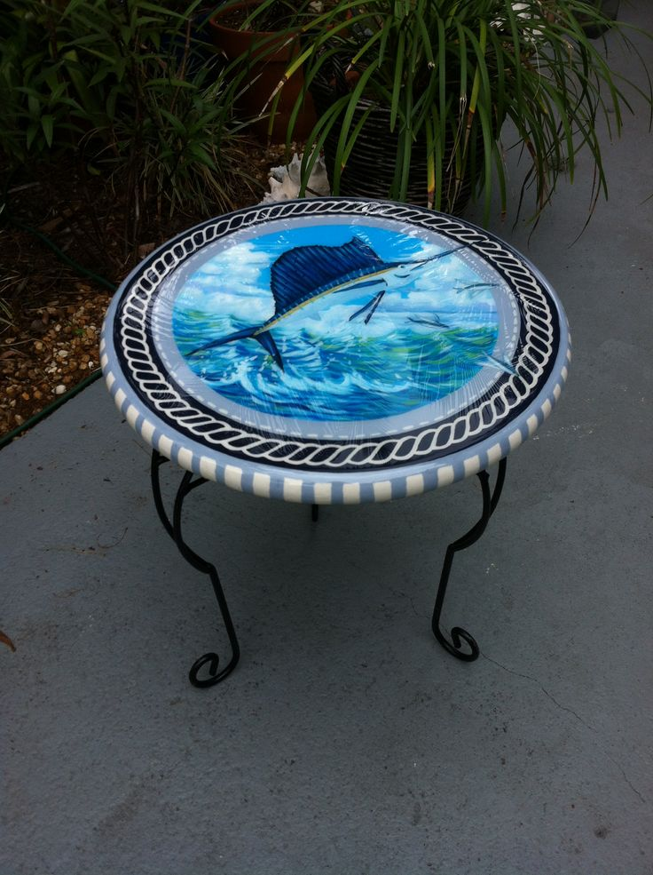 Hand painted sailfish side table with resin finish by Danielle Perry www.danielleperryfineart.com