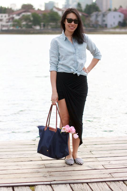 Style Rhapsody: Chambray shirt, turban skirt, Longchamp tote + tulips & striped d'Orsay flats