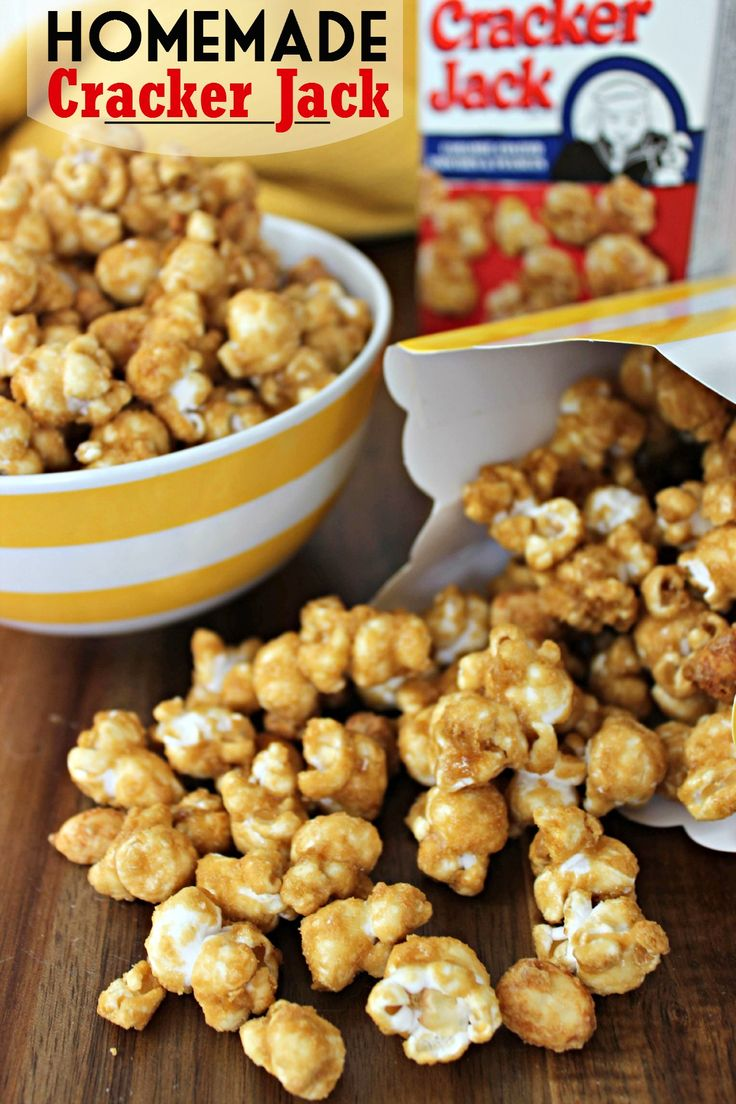 Homemade Cracker Jack Recipe | Baking Beauty10-12 cups of air popped Popcorn (Okay so substitute a 3.5 ounce bag of Microwave popcorn) 1 cup Brown Sugar,packed 1/4 cup Light Corn Syrup 1/2 cup Butter,melted 1 tbsp Water 2 tsp Vanilla Extract 1/2 tsp Baking Soda 1 cup Salted Peanuts