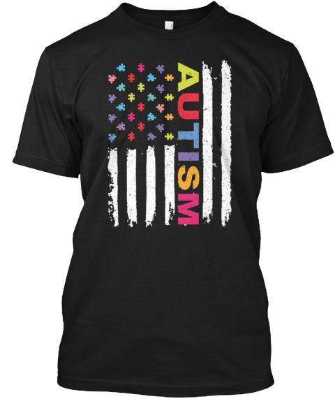 Autism Awareness American Flag Shirt Black T-Shirt Front