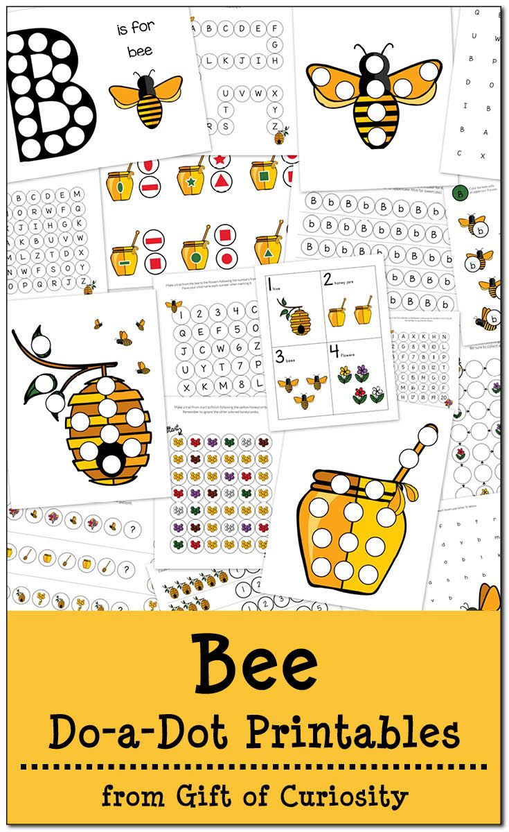 Free Bee Do-a-Dot Printables: 20 pages of bee dot worksheets for kids ages 2-6. The graphics in this pack are so cute! || Gift of Curiosity