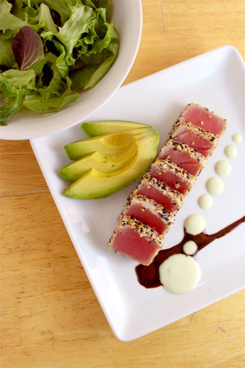 Get the Recipe for Ahi Tuna Salad with Soy Ginger Reduction and Wasabi Aioli