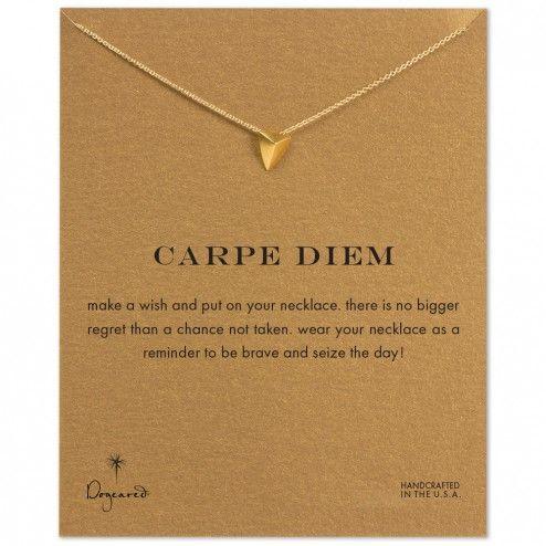 Dogeared Gold Dipped Carpe Diem Pyramid Necklace at aquaruby.com