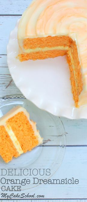 Fantastic Homemade Orange Dreamsicle Cake Recipe by MyCakeSchool.com! Moist orange cake layers with Orange Cream Filling and Orange Cream Cheese Frosting! SO good! My Cake School.