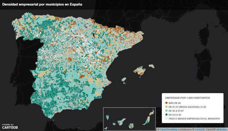 El mapa de la densidad empresarial: ¿Cuántas sociedades hay en tu localidad?. Noticias de Empresas
