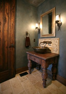 Mediterranean Bathroom Design With Travertine Noce Tile Rohl Country Classics Wall Mount Faucet