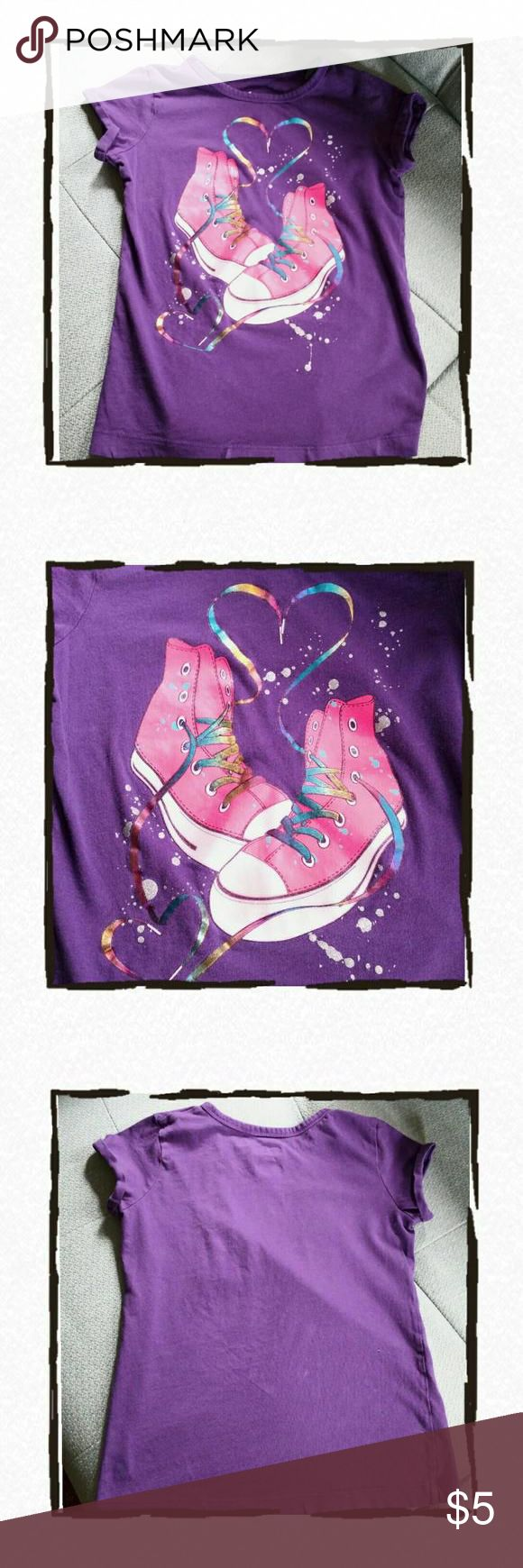Dance Sneakers Tee Purple tee with screen print off pink high this with rainbow laces and glitter!  Roll sleeves Large 10/12. Dresses