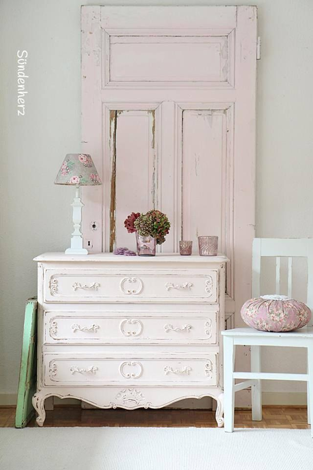 So shabby... Old door painted pale pink with white French dresser