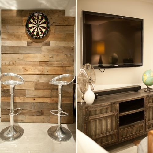 Wood pallets used to make dart board wall and industrial metal furniture