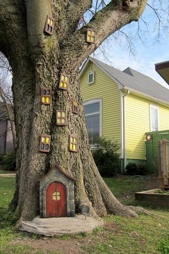 Not crazy about the windows, but the door and a small fairy garden would be awesome. We have the perfect tree for this.