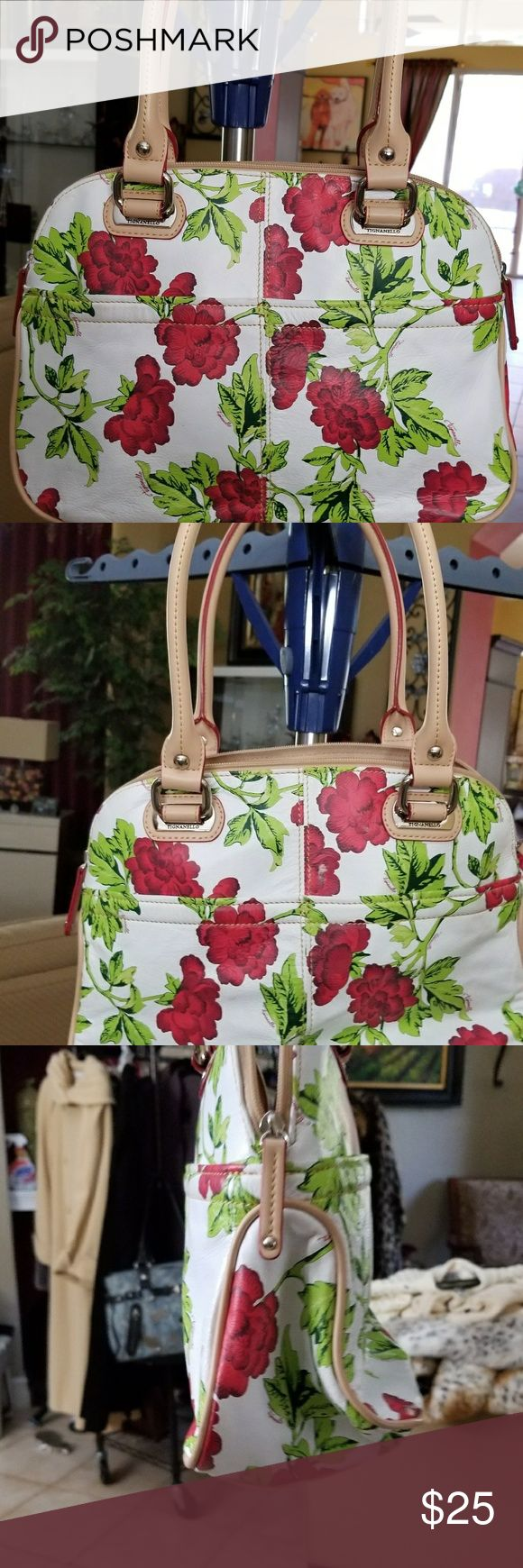 Handbag A nice size tignanello handbag with a floral print. Never used Tianello Bags Shoulder Bags