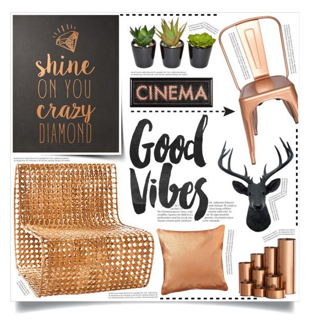 """""""Good Vibes"""" by tammara-d ❤ liked on Polyvore featuring interior, interiors, interior design, home, home decor, interior decorating, Jo-Liza, Balmain, colorchallenge and copperdecor"""