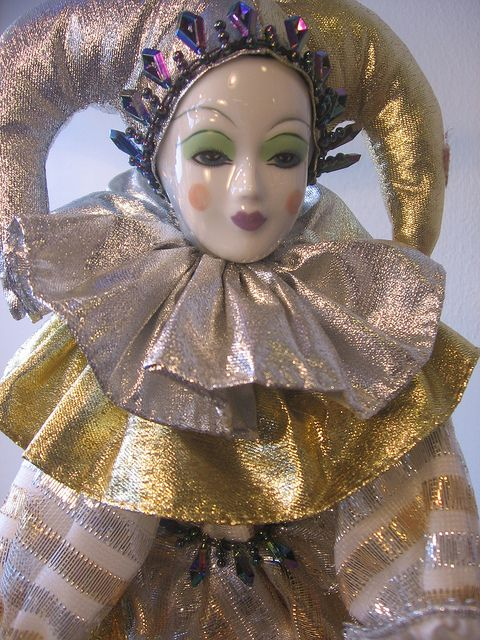 Camelot doll white clown closeup by TheLivingRoominKenmore, via Flickr