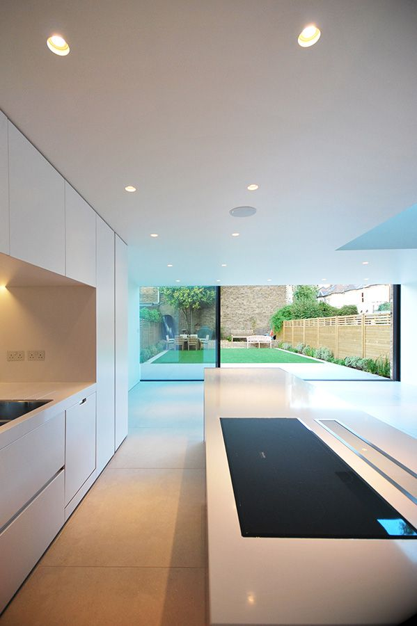 Rear Extension glass panoramah slimline windows LBMV architects porcelain tiles Clapham Common SW4 South London