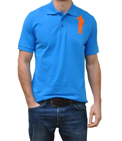 Blue Polo. 100% Organic Cotton. 3 button placket. Bold Embroidery Front & Back.  Model 6' ft, waist 31 wearing Small Bold Polo. Order online: http://www.el-capitano.com/collections/polos/products/blue