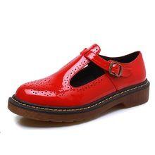 Vintage T Sangle Rouge Richelieus Chaussures Femme 2016 Plate-Forme Creepers En Cuir Verni Appartements Casual Mocassins Bout Rond Femmes Chaussures Richelieu(China (Mainland))