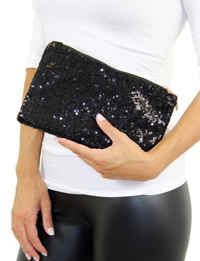 Black Sequin Clutch