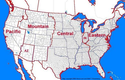 Click the U.S. time zone map for a larger version of the map that will enable you to see county lines more clearly.