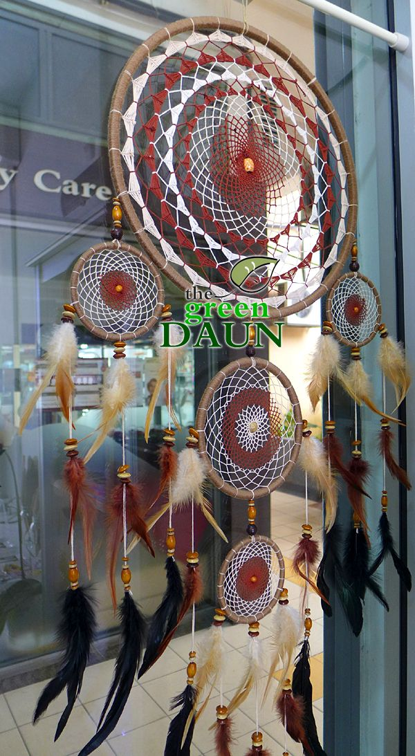 One of our super large custom Dream Catcher orders hand made by Green Daun Craft Shop in Malaysia. This one is coffee themed with mandala weaving.  #dreamcatchers #Malaysia #handmade #crafts