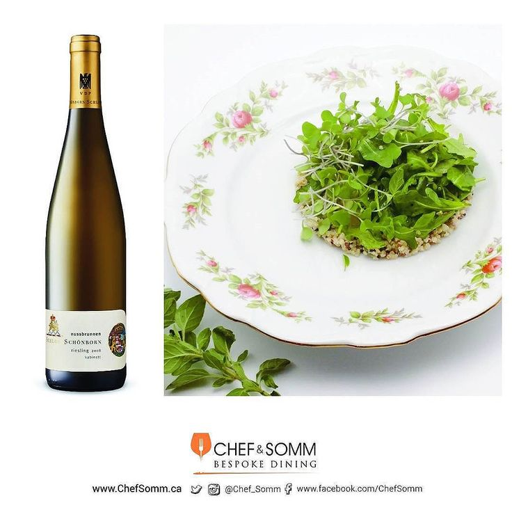 Schloss Schönborn Riesling paired with quinoa mixed with sour cream topped with arugula and seedlings More about the pairing on our Facebook and Instagram pages