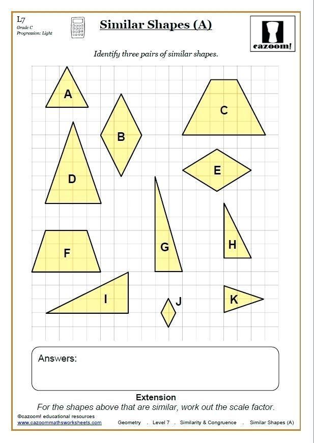 Geometry Similarity Math Congruence Maths Worksheet Math Geometry
