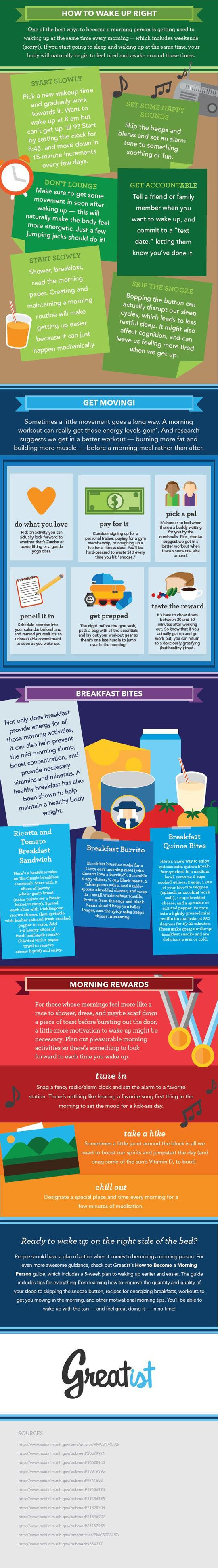 How to wake up right. - Some good ideas there for those of you who have trouble moving in the morning!