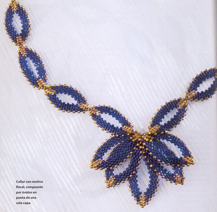 blue necklace - decorating ovals. Very clear directions w/translation. #seed #bead #tutorial