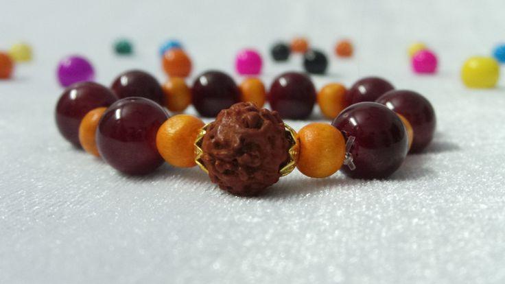 Rudraksha and Glass bead Bracelet for Ladies