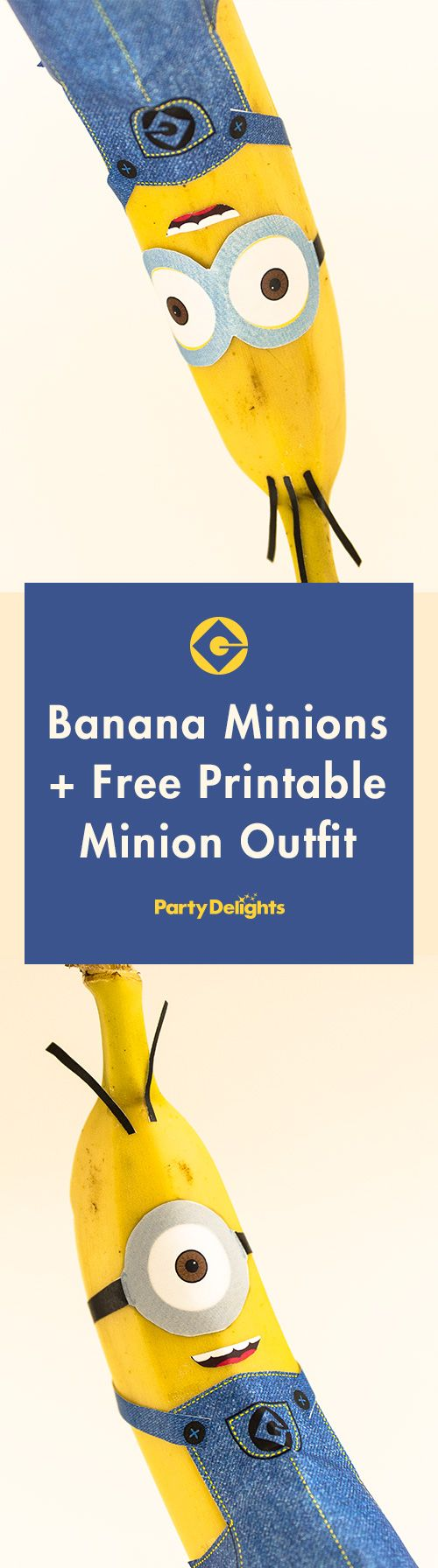 Download our free printable minion outfits to make these adorable banana minions! Perfect for a minion birthday party or a lunch box surprise! Visit blog.partydelights.co.uk for even more fun party ideas for kids.
