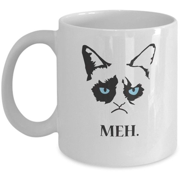 Grumpy Cat Gifts MEH--Grumpy Cat Mug-Grumpy Cat Coffee Mug-Grumpy Cat... (€11) ❤ liked on Polyvore featuring home, kitchen & dining, drinkware, white mug, grumpy cat coffee mug, white ceramic coffee mugs, grumpy cat mug and personalized ceramic coffee mugs