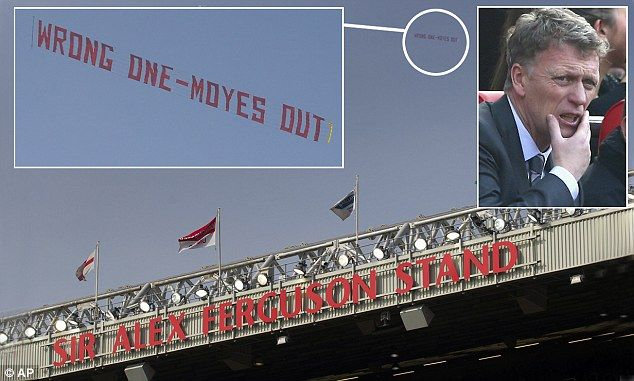 Some fans later vented their fury with a 'Wrong One - Moyes out' banner, which was flown over the ground