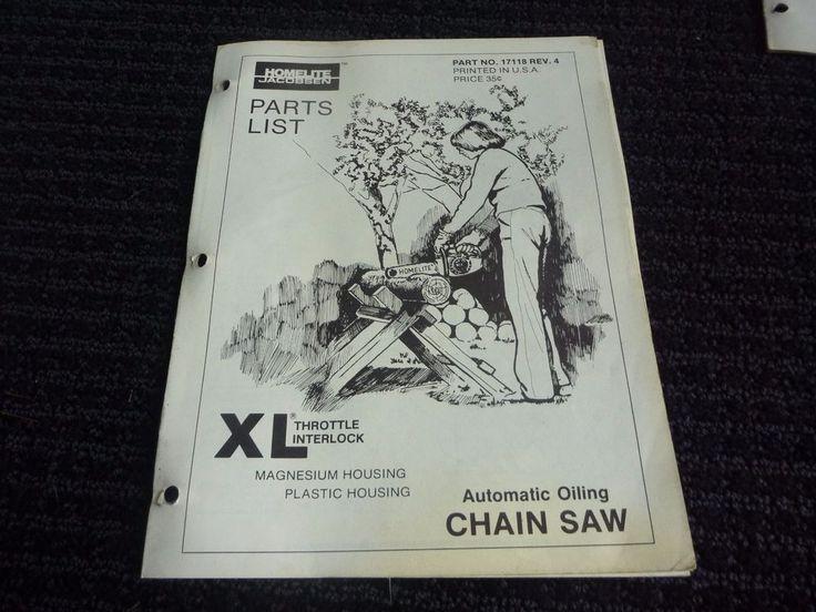 Vtg Homelite Jacobsen XL Chainsaw Parts List Catalog 17118 Rev 4 #Homelite