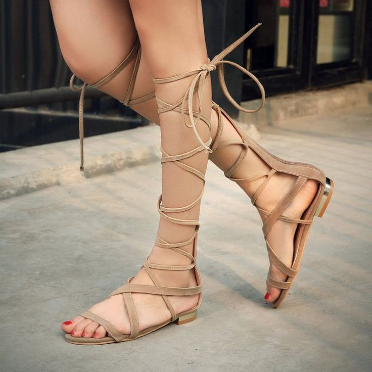 Braided Gladiator Knee High Sandals